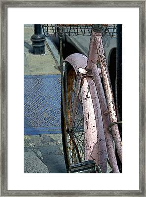 Framed Print featuring the photograph The Pink Bicyclette by Nadalyn Larsen