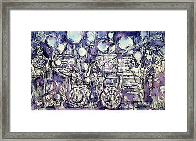 the PINK FLOYD in concert - drawing portrait Framed Print by Fabrizio Cassetta
