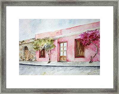 The Pink House In Colonia Framed Print