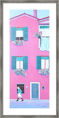 The Pink House With Green Shutters Framed Print by Jan Matson