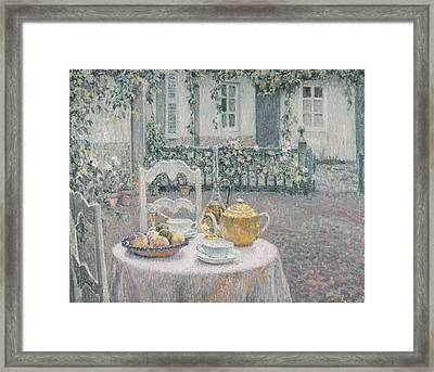 The Pink Tablecloth Framed Print by Henri Eugene Augustin Le Sidaner