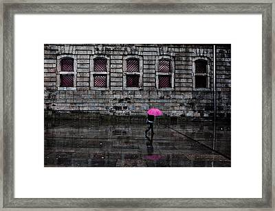 The Pink Umbrella Framed Print