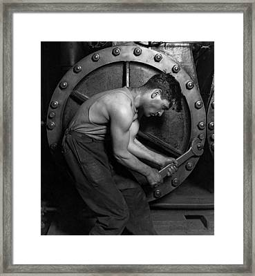 The Pipefitter 2 - Lewis Hine - 1920 Framed Print by Daniel Hagerman