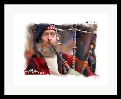 Bagpiper Mixed Media Framed Prints