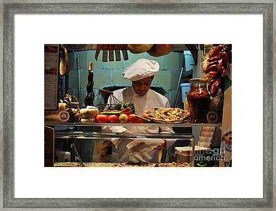 The Pizza Maker Framed Print by Mary Machare