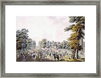 The Place Of The Fireworks At Prater Framed Print by Johann Ziegler