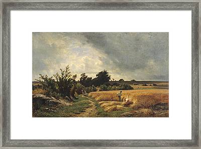 The Plateau Of Ormesson - A Path Through The Corn Oil On Canvas Framed Print by Francois Louis Francais