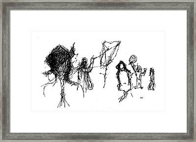 Framed Print featuring the drawing The Playground by Michael Dohnalek
