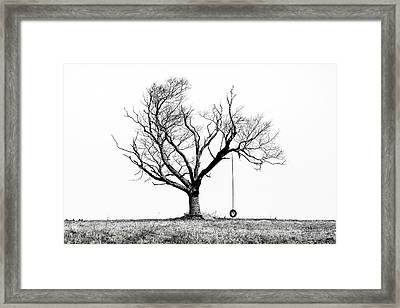 The Playmate - Old Tree And Tire Swing On An Open Field Framed Print