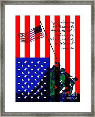 The Pledge Of Allegiance - Iwo Jima 20130210 Framed Print by Wingsdomain Art and Photography