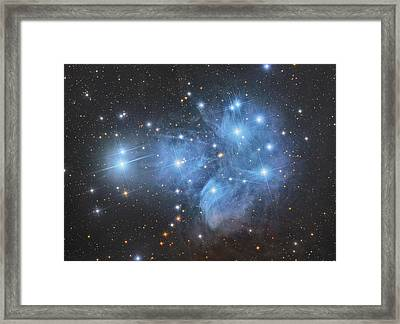 The Pleiades Open Star Cluster Framed Print by Roberto Colombari