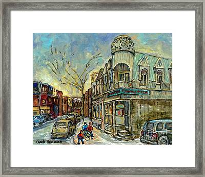 The Point Hockey Game Connie's Pizza Winter Scene Paintings Montreal Art Carole Spandau Framed Print by Carole Spandau