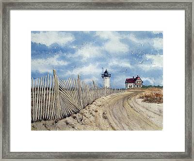 The Pole Line To Race Point Light Framed Print
