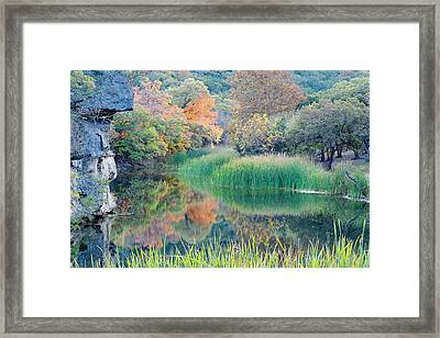 The Pond At Lost Maples State Natural Area - Texas Hill Country Framed Print
