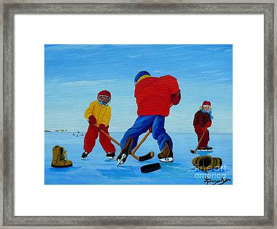 The Pond Hockey Game Framed Print by Anthony Dunphy