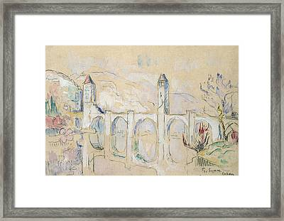 The Pont Valentre, Cahors  Framed Print by Paul Signac
