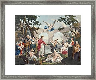 The Pool Of Bethesda, Illustration Framed Print by William Hogarth