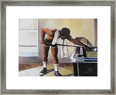 Framed Print featuring the painting The Pool Player by Linda Novick