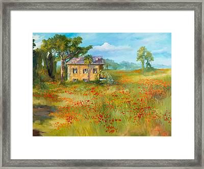The Poppy Fields Of Tuscany Valley Framed Print