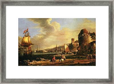 The Port Of Genoa Framed Print by Adriaen van der Cabel