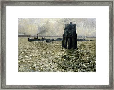 The Port Of Hamburg Framed Print by Leopold Karl Walter von Kalckreuth