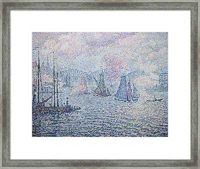 The Port Of Rotterdam, Or The Fumes Framed Print by Paul Signac