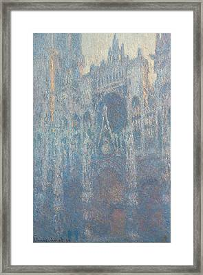 The Portal Of Rouen Cathedral In Morning Light Framed Print by Claude Monet