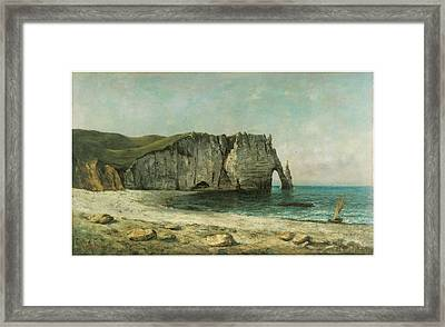 The Porte D'aval At Etretat Framed Print by Gustave Courbet