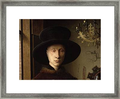 The Portrait Of Giovanni ? Arnolfini And His Wife Giovanna Cenami ? The Arnolfini Marriage 1434 Oil Framed Print by Jan van Eyck