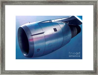 The Power Of Flight Jet Engine In Flight Framed Print by Wernher Krutein