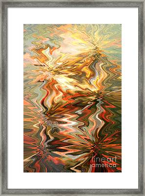Gray And Orange Peaceful Abstract Art Framed Print by Carol Groenen