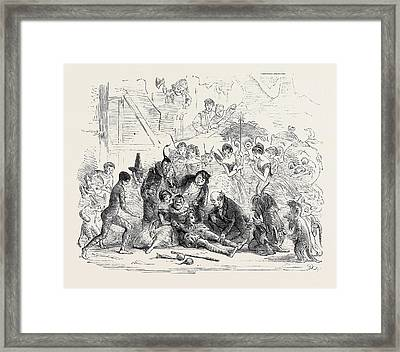The Practised Hands Of The Doctor Glided Over Bradleys Limbs Framed Print by English School