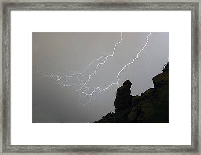 The Praying Monk Lightning Storm Chase Framed Print by James BO  Insogna
