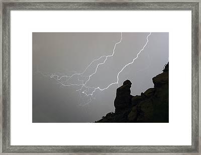 The Praying Monk Lightning Storm Chase Framed Print