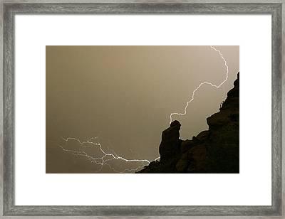 The Praying Monk Lightning Strike Framed Print