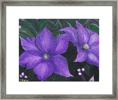 Framed Print featuring the painting The President Clematis by Sharon Duguay