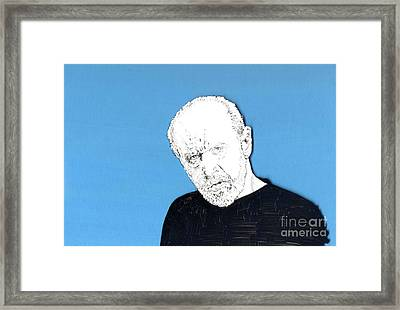 Framed Print featuring the mixed media The Priest On Blue by Jason Tricktop Matthews