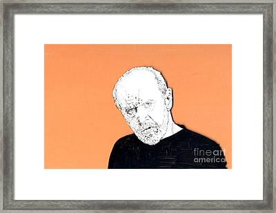 Framed Print featuring the mixed media The Priest On Orange by Jason Tricktop Matthews