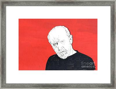 Framed Print featuring the mixed media The Priest On Red by Jason Tricktop Matthews