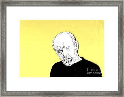 Framed Print featuring the mixed media The Priest On Yellow by Jason Tricktop Matthews