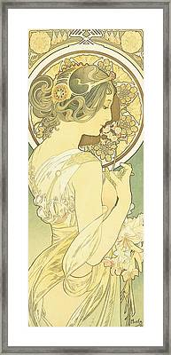 The Primrose Framed Print by Alphonse Marie Mucha