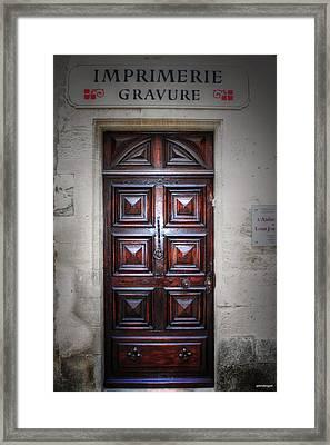 The Print Shop Door France Framed Print by Tom Prendergast