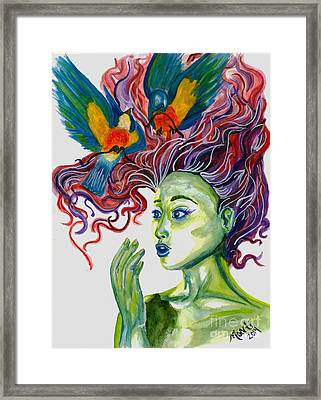 The Problem With Birds Framed Print by Monti Bargsley