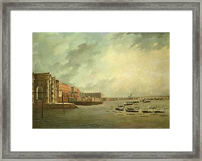 The Procession Of Barges Attending Lord Nelsons Body From Greenwich Hospital, January 8th 1806 Oil Framed Print