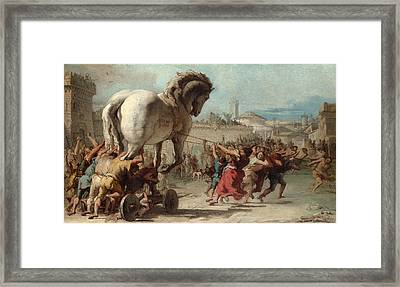 The Procession Of The Trojan Horse Into Troy Framed Print