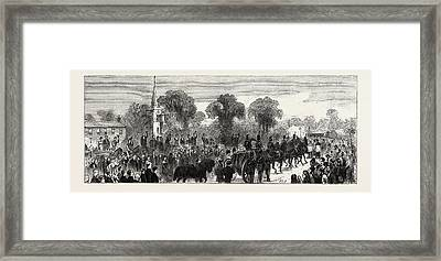 The Procession On The Road To St Framed Print
