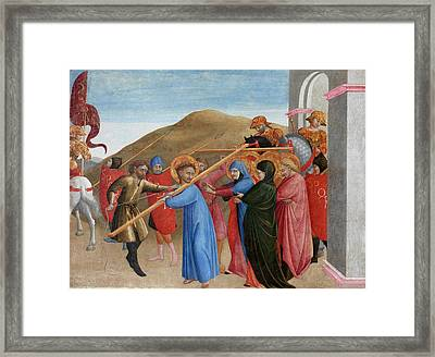 The Procession To Calvary Framed Print by Sassetta
