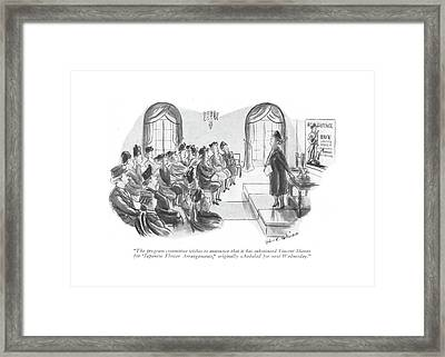 The Program Committee Wishes To Announce That Framed Print