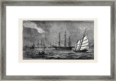 The Prohibition Of Coolie Traffic By The Portuguese Framed Print by English School
