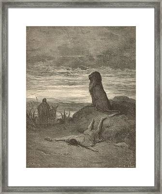 The Prophet Slain By A Lion Framed Print by Antique Engravings